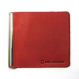 Кожаный кошелек Зажим для денег натуральная кожа Красный, фото 2