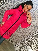 Теплое удлиненное женское пальто на молнии с надписями, цвет красный