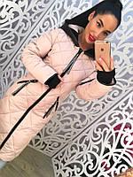 Теплое удлиненное женское пальто, на рукавах вязка, с капюшоном. Цвет пудра