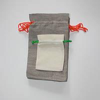 Подарочные мешочки из льна с оранжевым шнурком (20х33 см)