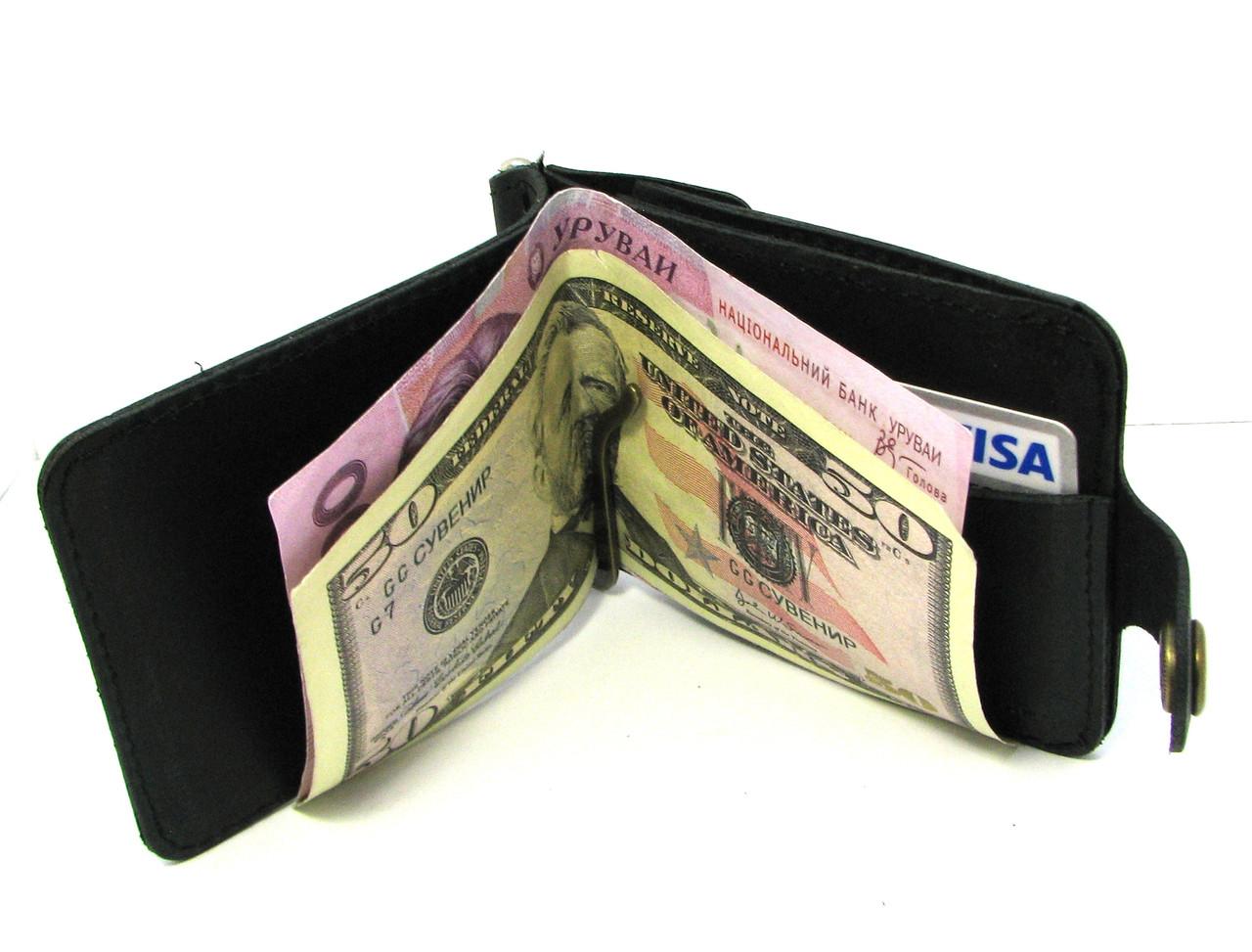 Кожаный кошелек Зажим для денег с отделом для мелочи натуральная кожа Черный