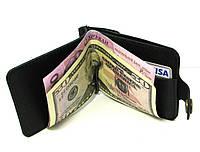Кожаный кошелек Зажим для денег с отделом для мелочи Черный