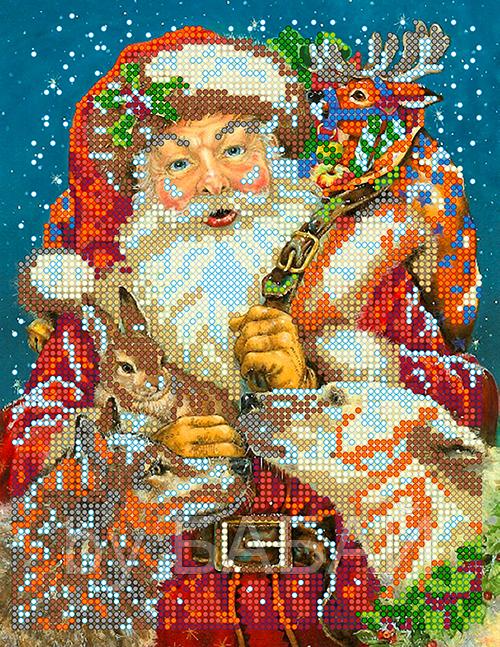 Схема для вышивки бисером Санта Клаус, размер 17х22 см