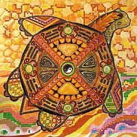 Схема для вышивки бисером Черепаха, размер 20х20 см