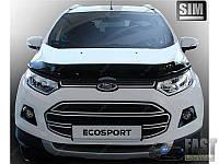 Дефлектор капота (мухобойка) на Форд Екоспорт с 2014> (на крепижах) SIM.