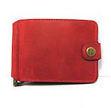 Кожаный кошелек Зажим для денег с отделом для мелочи натуральная кожа Красный, фото 2