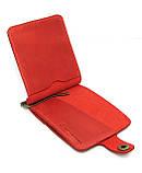 Кожаный кошелек Зажим для денег с отделом для мелочи натуральная кожа Красный, фото 4