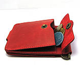 Кожаный кошелек Зажим для денег с отделом для мелочи натуральная кожа Красный, фото 5