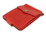 Кожаный кошелек Зажим для денег с отделом для мелочи натуральная кожа Красный, фото 6