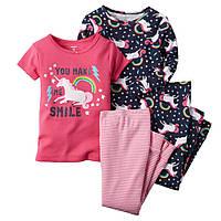 Детская пижама девочке комплект 4 вещи хлопок пижамы Carters размеры 3года слип картерс