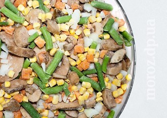 """Овощная смесь замороженная """"Лобио"""" (шампиньоны, фасоль стручковая, морковь, лук, кукуруза)"""