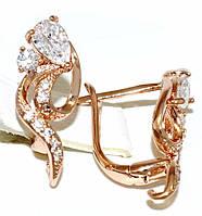 Серьги Xuping, цвет советского золота . Камень: белый циркон. Высота серьги 1,8 см. ширина 8 мм.