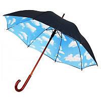 """Современный зонт трость полуавтомат ТМ """"Бергамо""""-45132 с небом на подкладке для нанесения логотипов"""