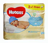 Детские влажные салфетки Huggies Pure 2+1 free – 168 шт. (3 х 56 шт.)