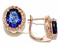 Серьги Xuping, цвет советского золота . Камень: синий циркон. Высота серьги 1,5 см. ширина 12 мм.