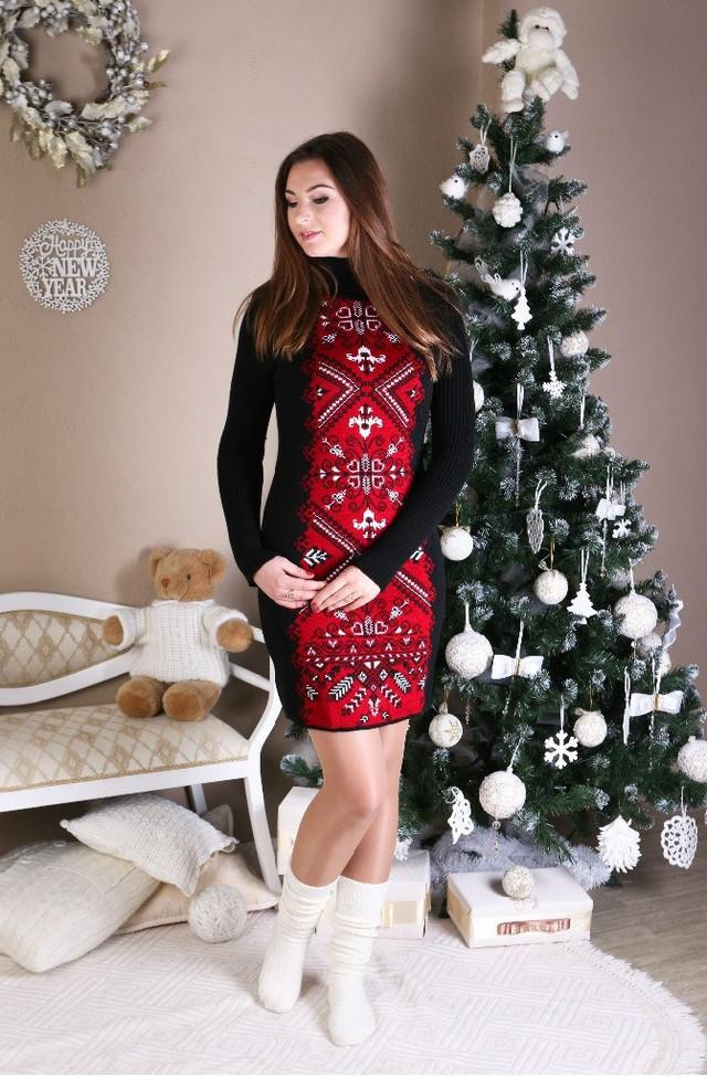 Вязаное зимние платье Ольга красная вышиванка - MalvaOpt в Хмельницком