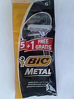 Станок для бритья мужской одноразовый BiC Metal 5+1 шт. Бик металл Оригинал, фото 1