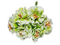 Декоративный букетик - Хризантема бело-салатовая, размер 3 см, 3 шт