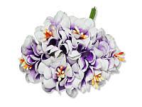 Декоративный букетик - Хризантема бело-фиолетовая, размер 3 см, 3 шт