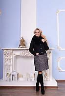 Комбинированное зимнее женское пальто пальтовая ткань + шерсть букле ворот песец размеры С М Л