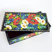 Украинский сувенир. Шкатулка для украшений. Букет с васильками