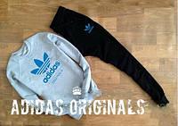 Мужской серый спортивный костюм Adidas Blue logo