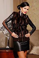 Меховые жилетки женские с вязаной отделкой