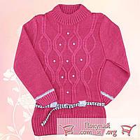Вязанная туника с поясом для девочек от 7 до 9 лет (4769-2)