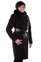 Зимнее женское пальто ворот песец съемный размеры 50 52 54 56