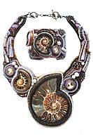 Колье ожерелье и браслет с аммонитами ручной работы