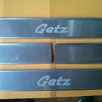 Накладки на пороги на Хьюндай Гётс с 02-09 (алюминий) 4-шт. Польша.