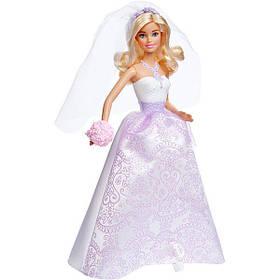 Кукла Barbie Барби Королевская невеста в белом платье с сиреневым узором DHC35