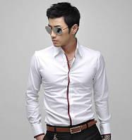 Мужская стильная рубашка с длинным рукавом белая с красной полоской