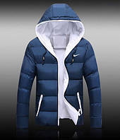 Пуховик Nike, найк, синяя, белая подкладка, демисезонная, в наличии, П3