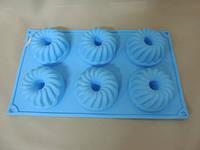 Силиконовая форма для выпечки кексов рифленых со стержнем 6 штук Empire ЕМ 9827