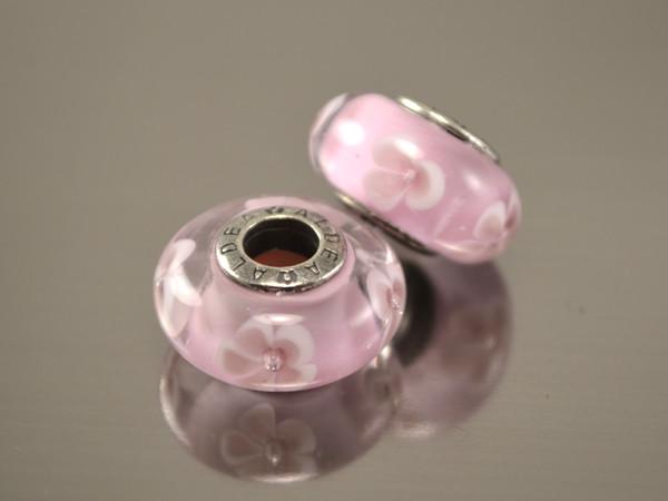 Бусина Нежность для браслета Пандора, розовые цветы
