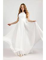Свадебное платье с гипюровым верхом расшитым жемчугом
