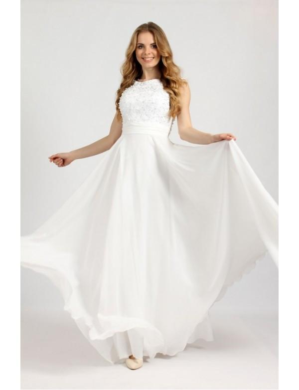 3456685b7c40998 Свадебное платье с гипюровым верхом расшитым жемчугом - Styleopt.com в  Харькове