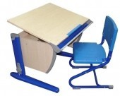 Стол СУТ.14 + Стул СУТ.01 клен/синий (пластик)