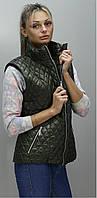 Стильная женская жилетка КС хаки 54-74 размеры