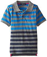"""Поло для мальчика с коротким рукавом U.S. Polo Assn. """"Полоска"""" сине-серая р.7"""