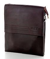 Мужская кожаная сумка планшет ST Коричневая две ручки