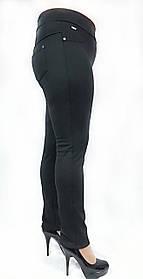 Брючные лосины №137, Батал, утепленные, черные