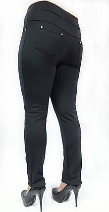 Брючные лосины №137, Батал, утепленные, черные, фото 2