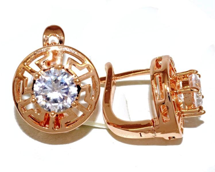 Серьги TSATSA, цвет советского золота . Камень: белый циркон. Высота серьги 1,7 см. ширина 15 мм.