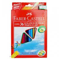 Кольорові олівці тригранні, 36 кольорів + точилка Faber-Castell.