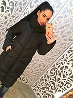 Теплое удлиненное женское пальто на синтепоне с высоким воротником, черное