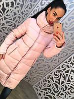 Теплое удлиненное женское пальто на синтепоне с высоким воротником, розовое
