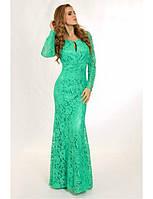 Длинное гипюровое платье с вырезом на груди