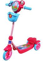 Скутер детский лицензионный PEPPA 3-х колесный,звонок, корзина, пропеллер, тормоз (Т57576)